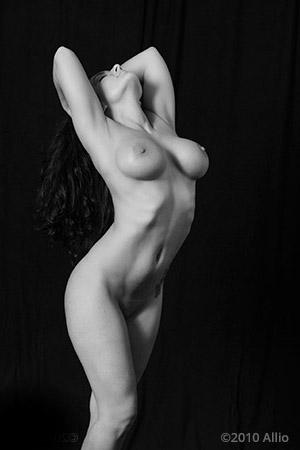 Allio original visual art priva sommersa vecchia of nude gesture model Czarny Niebieski studia del gesta nuda